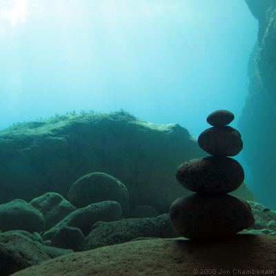 Picture of a balanced rocks that featured in the London Diver magazine in 2009